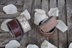 Bracelet python nude, rose, bordeaux, doré aech cheli Bracelet femme, manchette femme, bijoux femme
