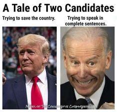 Biden Trump Memes, Creepy Joe Biden, Conservative Humor, Complete Sentences, Global Village, Liberal Logic, Best Memes, Donald Trump, People
