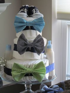 Bowtie and chevron themes baby shower. Diaper cake!