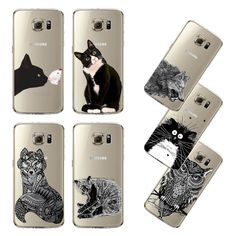 Ultra Thin Transparent Soft Black White Cat Owl Eagle Cell Phone Back Cover For Samsung Galaxy S5 S6 S6Edge S6Edge  S7 S7edge