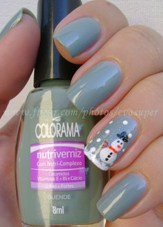 Nail Art Design; Let's Get Frosty The Snowman On Too, just because He' s Cute!