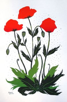 Oriental Poppy screen print by Diana Sudyka. Gorgeous print, and poppies always make me think of my childhood Oz obsession.