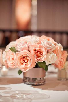 Brides: A Formal Fall Wedding with a Pink, Peach and Gray Color Palette