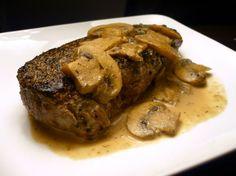 Pepper crusted steak with mushrooms