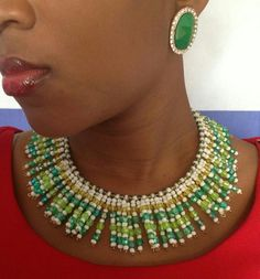 Beautiful African bead necklace.... I love.
