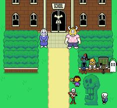 messed with the sprites in photoshop and made a little post-pacifist school scene! floweys in frisk's backpack but you cant really tell from the front heh (actual, non-stretched size:) Undertale Comic, Undertale Memes, Undertale Ships, Undertale Cute, Undertale Fanart, Frisk, 8bit Art, Toby Fox, Underswap