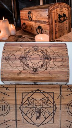 The Witcher's Wooden Alchemy Chest. Traditional medieval fantasy style engraved wood box / Treasure Chest by Further Fabrication Medieval Fantasy, The Witcher, Cthulhu, Treasure Chest, Wood Boxes, Alchemy, Industrial Design, Horror, Design Inspiration