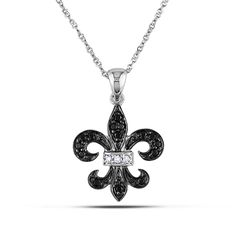 "1/8 CT. T.W. Enhanced Black and White Diamond Fleur-de-Lis Pendant in 10K White Gold - 17"""