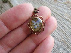 Pressed Hydrangea Necklace Flower Botanical Jewelry by KateeMarie,