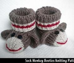 Sock Monkey Baby Booties Knitting Pattern I might have to learn to knit for these are so cute!