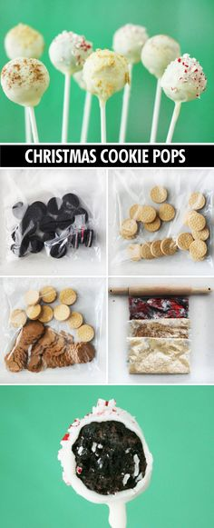 Candy cane, egg nog, and gingerbread pops. No baking required! Perfect holiday treat.