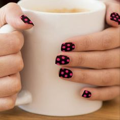 black background with hot pink dot pattern.