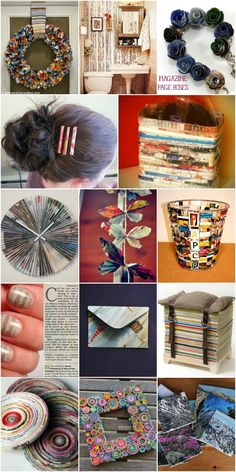 30 Crafty Ways To Repurpose Old Magazines {Trash to Treasure} 30 Crafty Ways To Repurpose Old Magazines And Turn That. Recycled Magazine Crafts, Paper Crafts Magazine, Recycled Magazines, Old Magazines, Magazine Art, Magazine Bowl, Recycled Art Projects, Art Projects For Teens, Upcycled Crafts