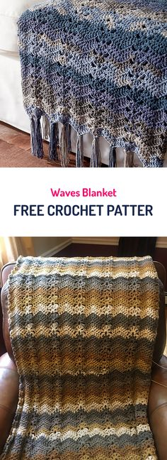 Waves Blanket Free Crochet Pattern #crochet #yarn #crafts #homedecor Crochet Crafts, Crochet Yarn, Yarn Crafts, Free Crochet, Afghan Patterns, Crochet Blanket Patterns, Crochet Blankets, Manta Crochet, Tunisian Crochet