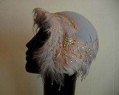 Fancy Vintage 30's Clothe Hat Adorned with Pearls and Rhinestones