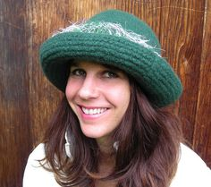 Handknit Felted Green Hat With Wide Brim