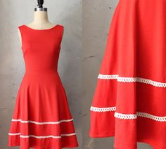 COQUETTE in POPPY - Poppy red dress with pockets // flared circle skirt // ivory crochet // bridesmaid dress // vintage inspired on Etsy, 455,15kr