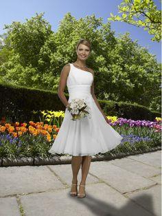 Simple White One Shoulder Empire Wasit Chiffon Satin Beach Wedding Dresses