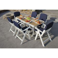 Your dining comfort is assured with the Polywood Nautical Rectangular Dining Set. This outdoor dining table and chairs are made with durable Outdoor Tables And Chairs, Outdoor Dining Set, Table And Chair Sets, Patio Dining, Dining Table Chairs, Patio Chairs, Outdoor Decor, Arm Chairs, Outdoor Living