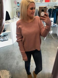 e8647d8cd41e A mauve long sleeve knit sweater with twisted knot detail that can be worn  on the