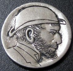 Detailed Hobo Buffalo Nickel Hand Carved Man in Hat with Beard T212 | eBay