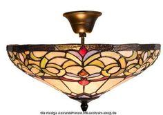 Artikel-Nr.: CL-WYOMING.5908.00.  Klassische 40ø TIFFANY-Deckenlampe ( mit Abstand) WYOMING.  40ø. 28cm hoch. 2xE-14, je 40W.  ...liebevoll aus ausgesuchten TIFFANY-Gläsern...