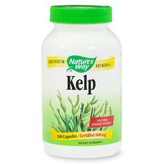 """Nature's Way Kelp 660mg with Iodine-Because iodine-rich kelp helps to stimulate thyroid function, herbalists believe it may act to accelerate the rate at which your body uses energy. The increase of energy boosts the metabolism, burns calories and leads to a decrease in fatty deposits. Phyllis A. Balch, author of """"Prescription for Herbal Healing"""" says that numerous users report success with kelp supplements."""