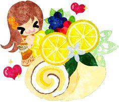 レモンのロールケーキと笑顔の女の子のイラスト