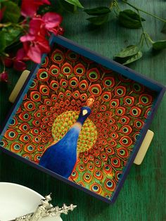 Peacock Painted Trays