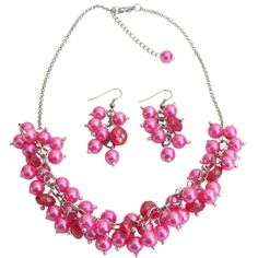 Price : $13.99 Beaded Cluster necklace in Hot Pink pearls & crystals Bridesmaid jewelry. Material : 8mm Hot Pink Glass Pearls Necklace with 8mm crystal glass beads. Color : Hot Pink Necklace Length : 16 inches with 2 inches extension Earrings Length : 1 1/14 inches Earrings Type : French hook nickel free