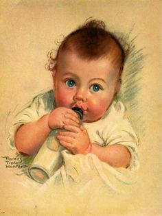 """Baby Sucking on Bottle"" by Frances Tipton Hunter (1896-1957, American)"