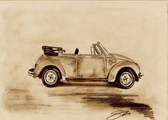 Vw Beetle convertable, hand drawn in pencil.