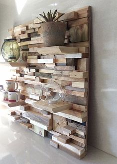 Use these woodworking projects to build and sell, to create easy woodworking projects to sell pallet wood projects online or at flea markets.This Pin was discovered by AZZstuff to make with woodFor hall shelf or bedroom wall Wooden Art, Wooden Walls, Wood Wall Art, Wooden Shelves, Diy Pallet Projects, Wood Projects, Woodworking Projects, Woodworking Plans, Pallet Furniture