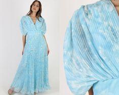 Deep V Neck Maxi Dress / Vintage 70s Blue Cloud Floral Dress / Womens Sheer Pleated Wrap Dress / Grecian Goddess Party Maxi Dress Vintage Dresses, 1970s Dresses, Blue Clouds, Vintage 70s, Grecian Goddess, Flower Skirt, Country Dresses, Chiffon Material, Wrap Dresses