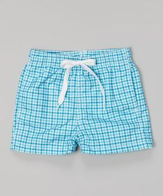 Love this Aqua Check Monaco Swim Trunks - Infant, Toddler & Boys on #zulily! #zulilyfinds