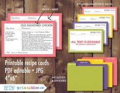 Printable recipe cards 4x6 recipe cards recipe card dividers editable recipe cards recipe card pdf Instant Download- 285 (4.00 USD) by BetsyPrintables