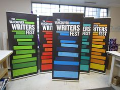 Awsome banner stands produced for Vancouver International Writer's Fest www.fastsigns.com/653 #bannerstand Create A Company, Banner Stands, Vancouver, Writer, Advertising, Design, Picture Banner, Writers