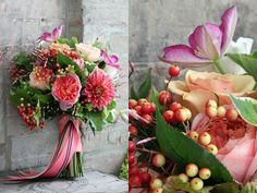 Lovely peach and purple bouquet.