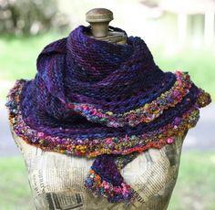 Brambleberry Gypsy Crescent Shawl, Merino Hand Knitted/ Wearable Art Crescent Shawl