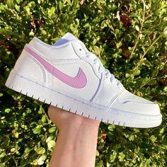BABY PINK SWOOSH AIR JORDAN 1 LOW🎀🌸 by angelcreationz Jordan 1 Low, Jordan 1 Retro High, Jordan Shoes, Jordan Nike, Original Air Jordans, Nike Shoes, Sneakers Nike, Jordan Sneakers, Girls Sneakers