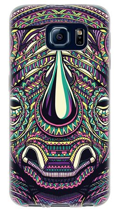 Amazon.com: {Aztec Animal Face Rhino} Soft and Smooth Silicone Cute 3D Fitted Bumper Back Cover Gel Case for Samsung Galaxy S6 {Color is Green, Pink and Yellow}: Cell Phones & Accessories