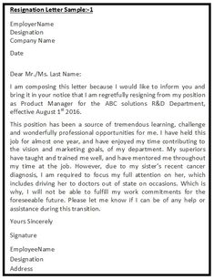 Resignation Letter Samples Resignationletter Help Resignationlett On Pinterest