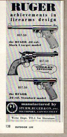 1954 Vintage Ad Ruger Pistols Revolvers 3 Models Shown Southport,CT