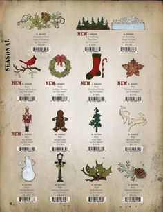 Tim Holtz / Sizzix - Christmas Dies & Embossing Folders - 2012 Tim Holtz Dies, Tim Holtz Stamps, Sizzix Dies, Christmas Gift Tags, Paris Christmas, Ranger Ink, Memory Box Dies, Holiday Festival, Punch Art