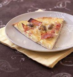 Pizza au munster, pommes de terre, jambon et champignons - les meilleures recettes de cuisine d'Ôdélices