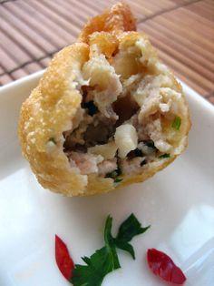 Fried Wontons - pork, water chestnuts, scallops, wonton skins, egg, sesame oil. #pork