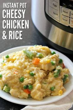 This Instant Pot Cheesy Chicken and Rice will be the best comfort food recipe that you make in your pressure cooker! A one-pot recipe loaded with cheese and mixed vegetables, it will become a family favorite that you make over and over again. Instant Pot Dinner Recipes, One Pot Recipes, Rice Recipes, Vegetable Recipes, Instant Pot Meals, Chicken Breast Instant Pot Recipes, Rice Cooker Recipes, Recipies, Cooking Recipes