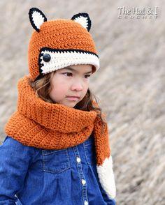 CROCHET PATTERN Fox Fancy Hat & Cowl crochet fox por TheHatandI