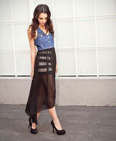 Denim and Chiffon Dress from Forever 21's Lookbook