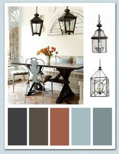 Rustic Dining Room. Light blue color palette